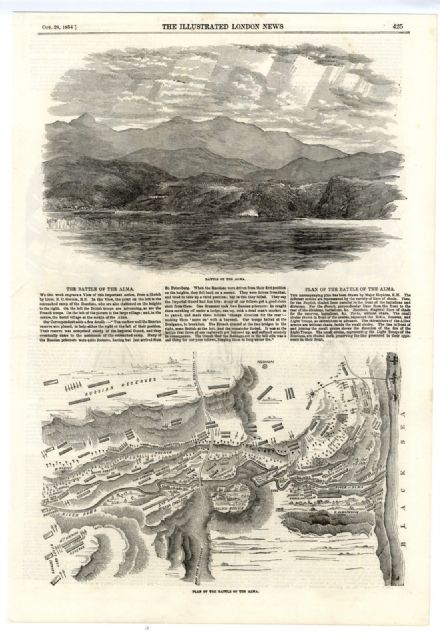 1854 Print CRIMEA WAR Plan and View BATTLE OF ALMA Antique Engraving Crimean